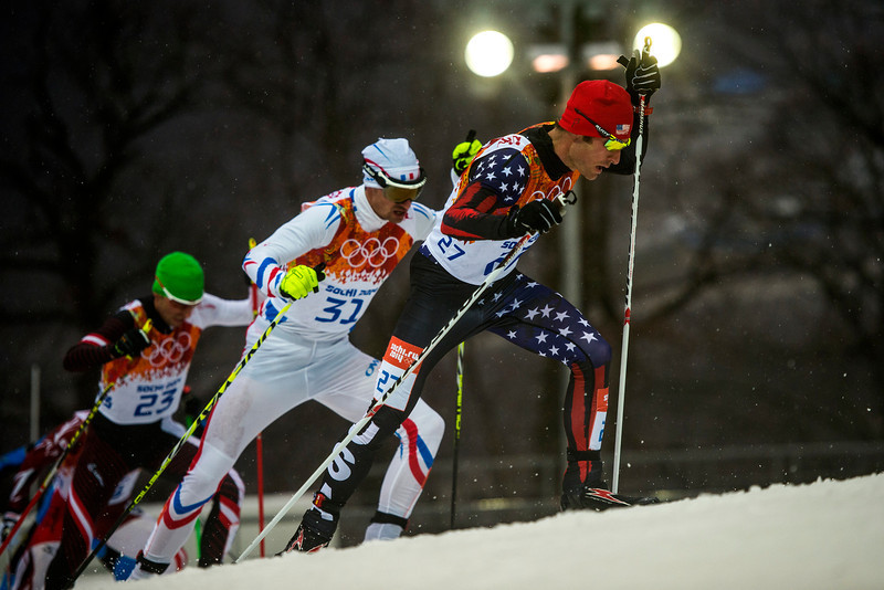 . Bryan Fletcher, of Park City, (27) competes in the Nordic combined 10km cross-country ski competition at the Gorki Ski Jumping Center during the 2014 Sochi Olympics Tuesday February 18, 2014. Fletcher finished in 22nd place with a time of 22:53.3. (Photo by Chris Detrick/The Salt Lake Tribune)
