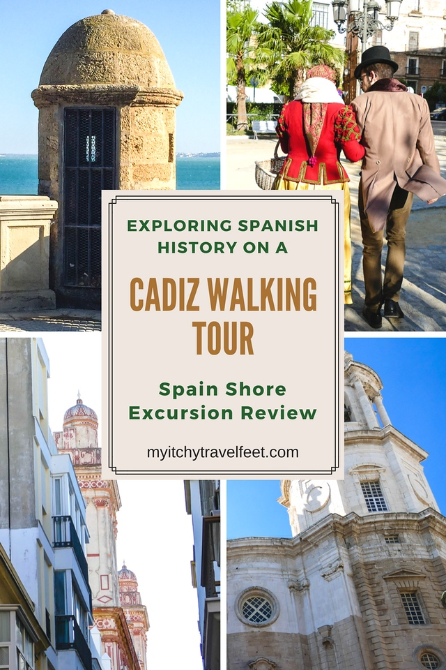 Collage of photos: Lookout over the sea, tour guides walking, pink and white tower, beige and white tower. Text: Exploring Spanish History on a Cadiz Walking Tour.