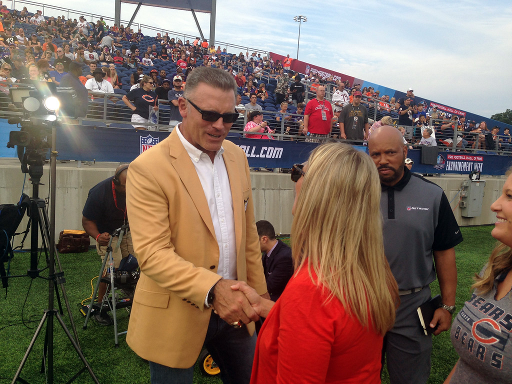 . John Kampf - The News-Herald The Trubisky family meets Pro Football Hall of Famer Howie Long before the Hall of Fame game on Aug. 2, 2018.