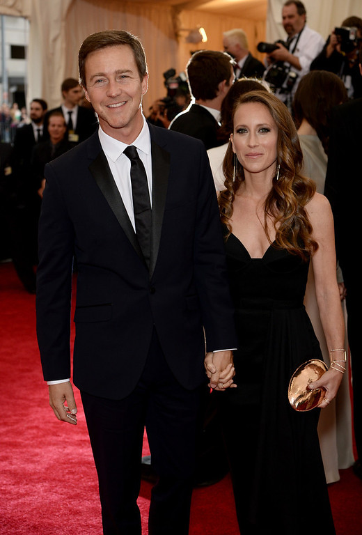 """. Edward Norton and Shauna Robertson attend the \""""Charles James: Beyond Fashion\"""" Costume Institute Gala at the Metropolitan Museum of Art on May 5, 2014 in New York City.  (Photo by Dimitrios Kambouris/Getty Images)"""