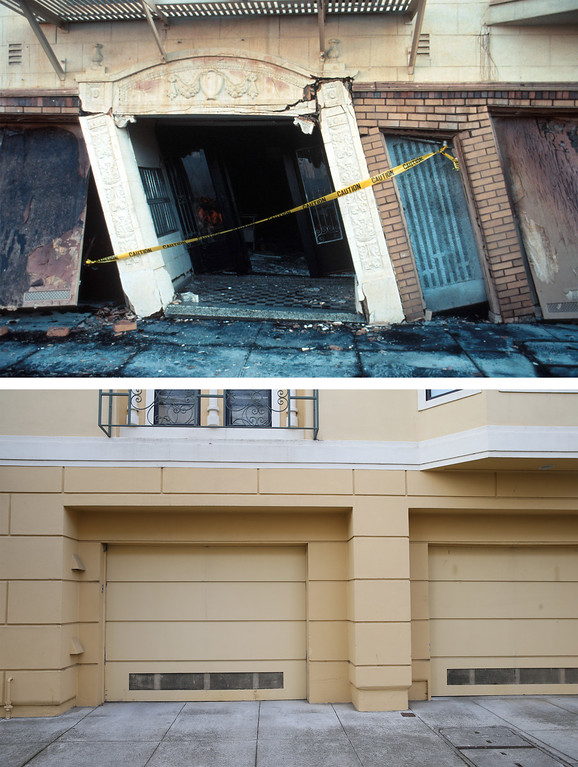 . SAN FRANCISCO, CA - OCTOBER 15: In this before-and-after composite image, (Top) A view of the doorway to a damaged apartment building on Beach Street near Divisadero Street following the Loma Prieta earthquake on October 17, 1989 in San Francisco, California. (Photo by C.E. Meyer/U.S. Geological Survey Photographic Library via Getty Images)   SAN FRANCISCO, CA - OCTOBER 15: (Bottom) A view of a garage at an apartment building on Beach Street that was built after the 1989 Loma Prieta earthquake on October 15, 2014 in San Francisco, California. It has been 25 years since the 6.9 Loma Prieta earthquake rocked the San Francisco Bay Area at 5:04PM on October 17, 1989 causing widespread damage to buildings and roadways. 63 people died and nearly 4,000 were injured. (Photo by Justin Sullivan/Getty Images)