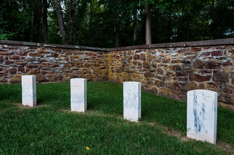 Four unknown graves located in the National Military Cemetery, Balls Bluff battlefield, VA.