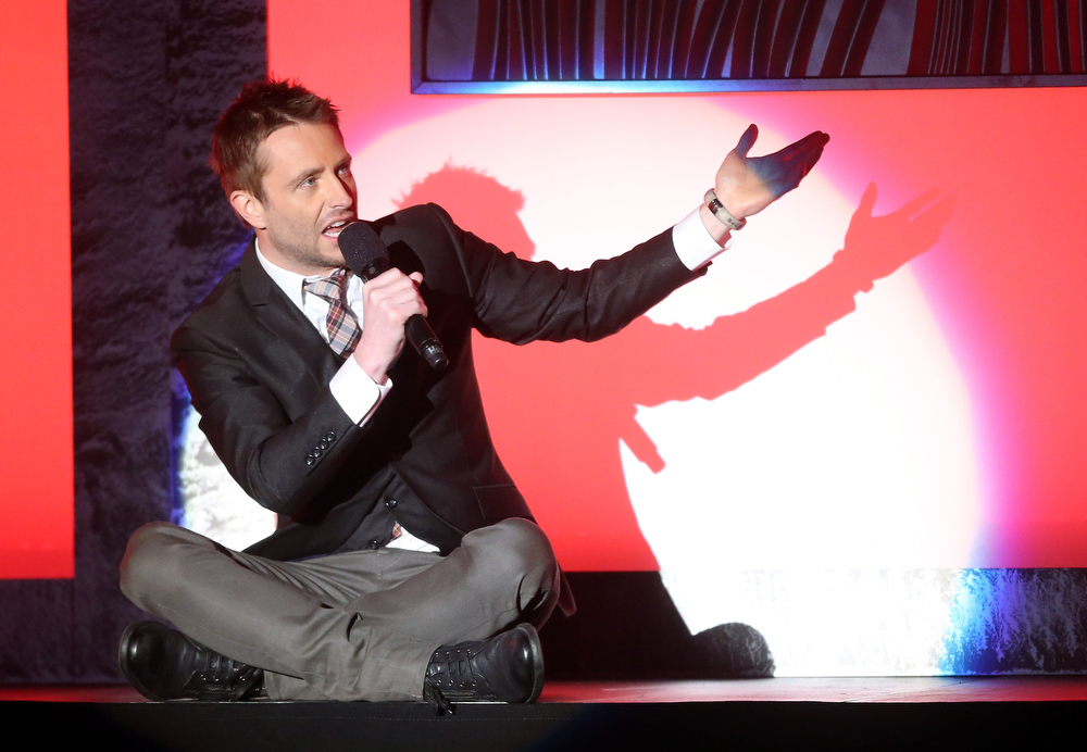 Description of . Host Chris Hardwick speaks onstage at the 3rd Annual Streamy Awards at Hollywood Palladium on February 17, 2013 in Hollywood, California.  (Photo by Frederick M. Brown/Getty Images)