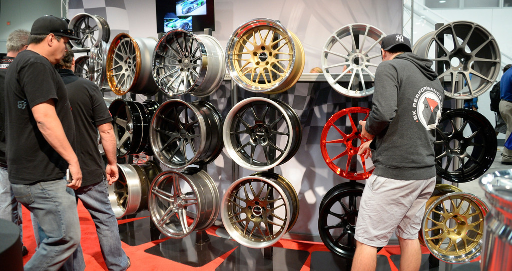 . Nov 6,2013 Las Vegas NV. USA. Some of the  custom rims on display by Forgeline, during the second day of the 2013 SEMA auto show. Photo by Gene Blevins/LA Daily News