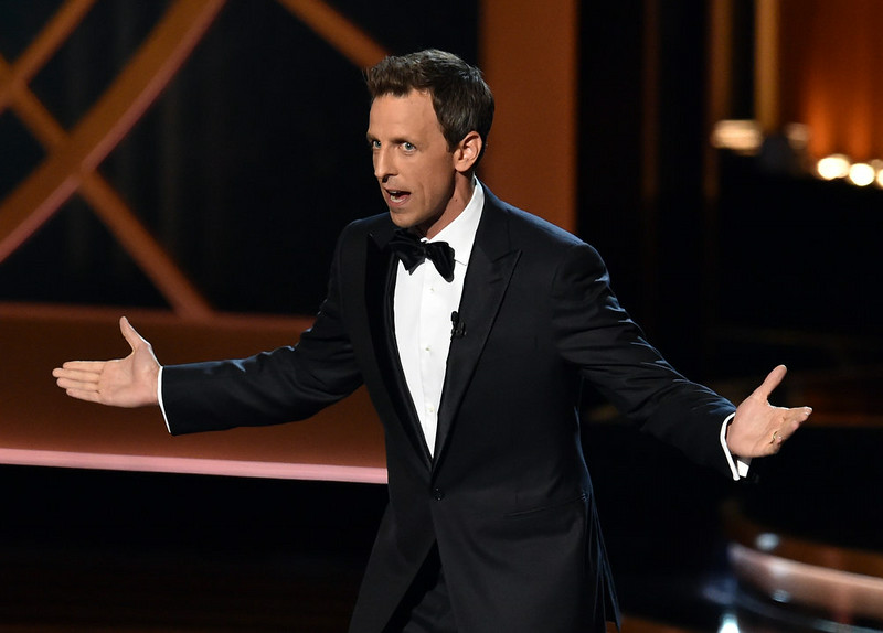 . Host Seth Meyers speaks onstage at the 66th Annual Primetime Emmy Awards held at Nokia Theatre L.A. Live on August 25, 2014 in Los Angeles, California.  (Photo by Kevin Winter/Getty Images)