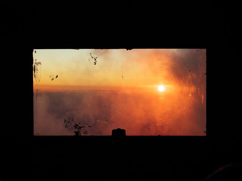Sunset through the hut window
