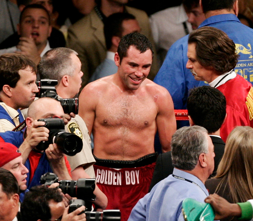 . Oscar De La Hoya  smiles after hearing that he lost to Floyd Mayweather Jr. by split decision at the MGM hotel for the super welterweight world championship in Las Vegas, NV. May 5,2007 ( Gene Blevins/ LA Daily News)
