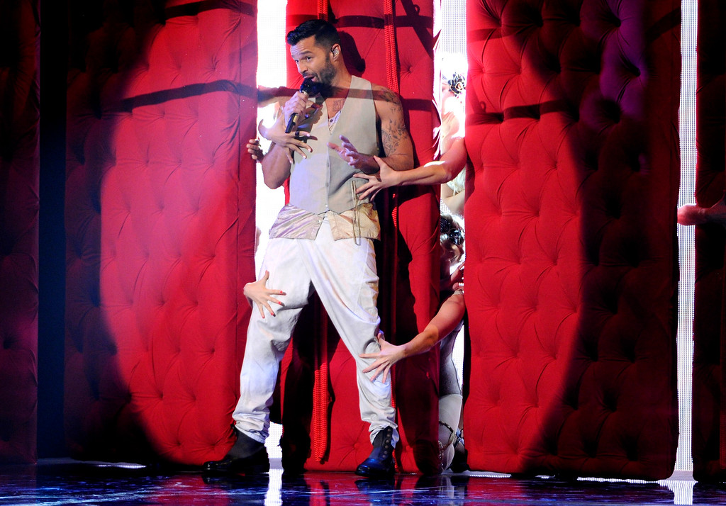 . Ricky Martin performs at the 15th annual Latin Grammy Awards at the MGM Grand Garden Arena on Thursday, Nov. 20, 2014, in Las Vegas. (Photo by Chris Pizzello/Invision/AP)