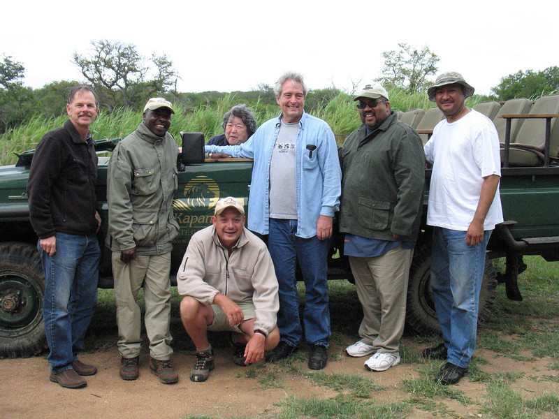 Men on safari along with our Guide Alex and Tracker Johnson.