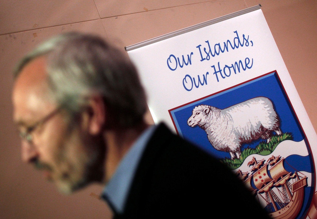 . Barry Elsby, member of the Falkland Islands Assembly, speaks to journalists at the Town Hall in Stanley March 9, 2013. Voters in the remote British-ruled Falkland Islands hold a referendum on their future on Sunday that seeks to challenge Argentina\'s increasingly vocal sovereignty claim.    REUTERS/Marcos Brindicci