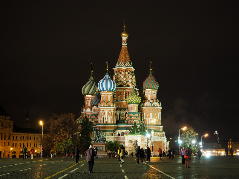 St. Basil's Cathedral on Red Square at night