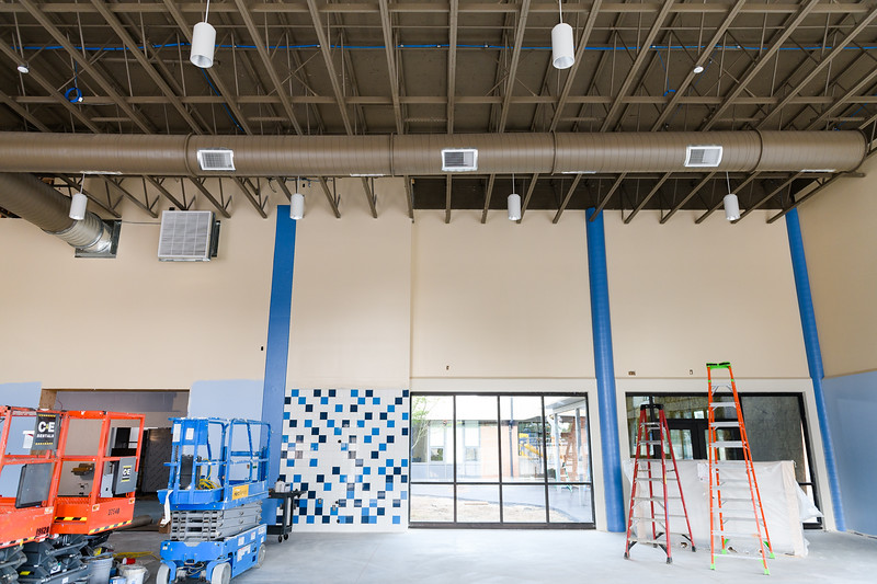 New tiling, ceiling lights, and windows installed in the cafeteria/commons building at Gubser Elementary on Friday, August 16, 2019, in Keizer, Ore.
