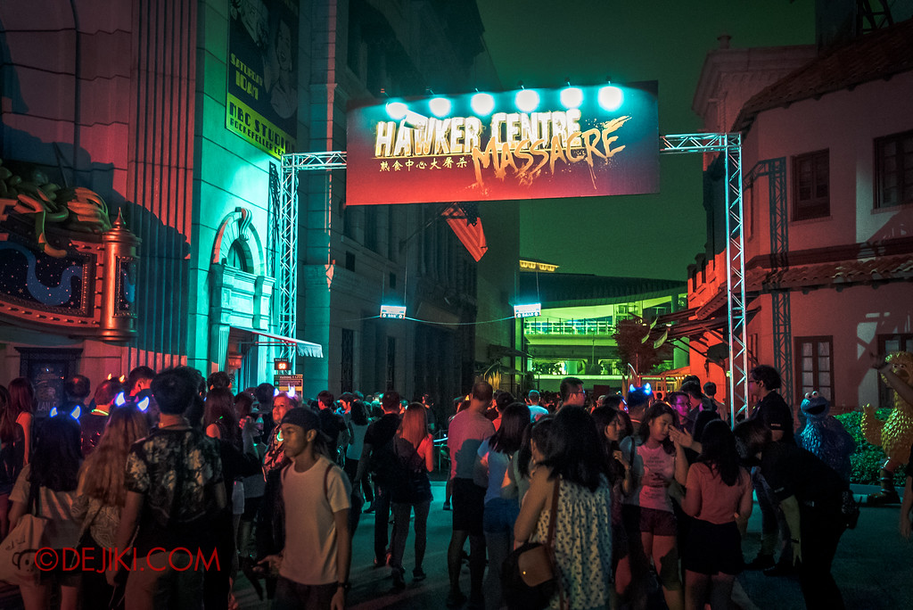 Halloween Horror Nights 6 SURVIVAL GUIDE by Dejiki.com / Hawker Centre Massacre entrance