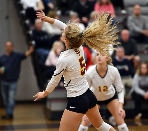 11/14/2019 Mike Orazzi | StaffrSt. Joseph High School's Katie Spangenberg (5) during the Class L Second Round Girls Volleyball Tournament at Bristol Central Thursday night. r