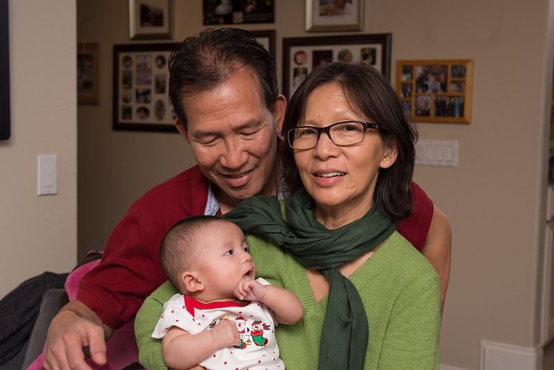 Christmas, Grandma Lan, Grandpa Kim, Noah - shot on 12/26/12 with Olympus E-M5 1/160 sec at f/3.2, ISO 200 with w/ LEICA DG SUMMILUX 25/F1.4 lens at 25 mm (50mm equiv)