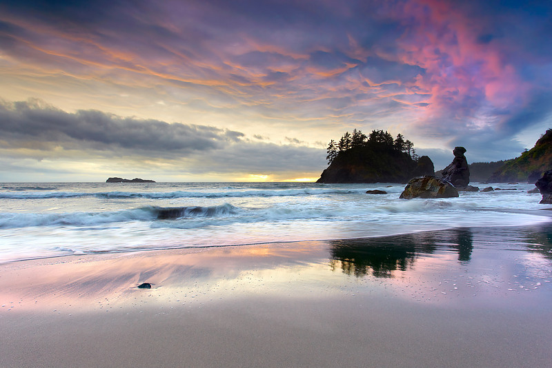 Grandmother Rock bears witness to yet another impressive sunset at Trinidad Beach, just north of Eureka, California.