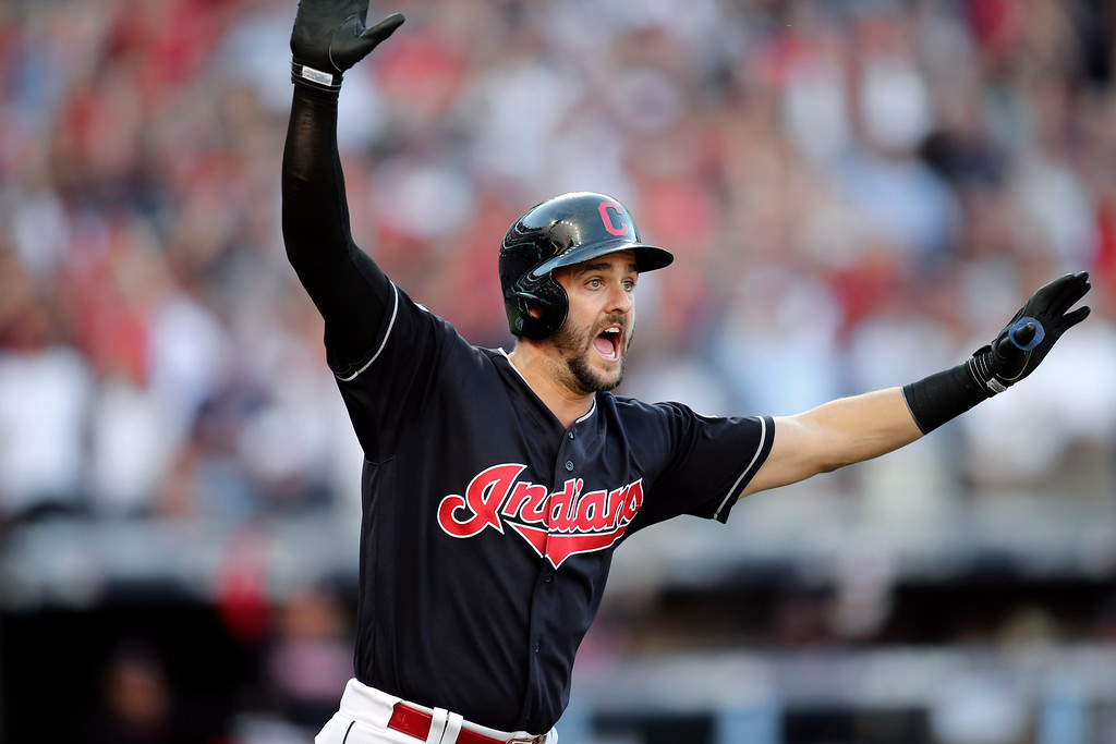 . Cleveland Indians\' Lonnie Chisenhall reacts after hitting a three-run home run against the Boston Red Sox in the second inning during Game 2 of baseball\'s American League Division Series, Friday, Oct. 7, 2016, in Cleveland. (AP Photo/Aaron Josefczyk)