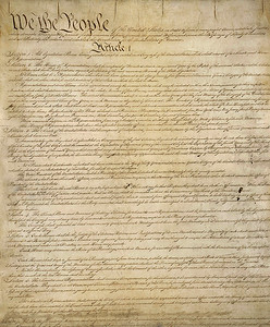 US Constitution, page one, courtesy of the US National Archives