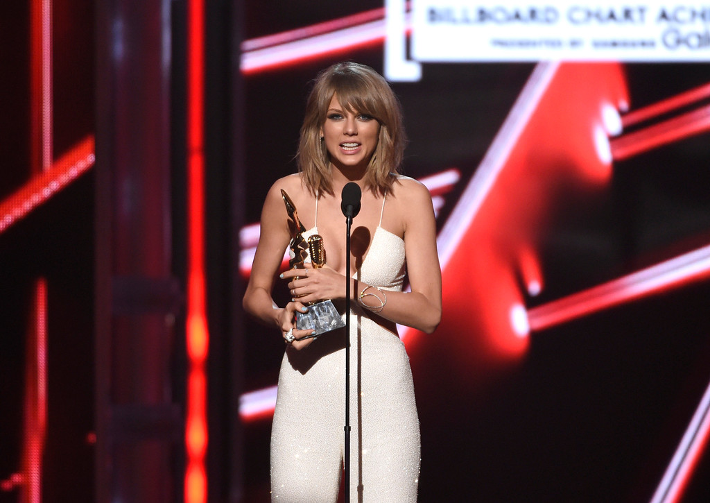 . Taylor Swift accepts the chart achievement award at the Billboard Music Awards at the MGM Grand Garden Arena on Sunday, May 17, 2015, in Las Vegas. (Photo by Chris Pizzello/Invision/AP)