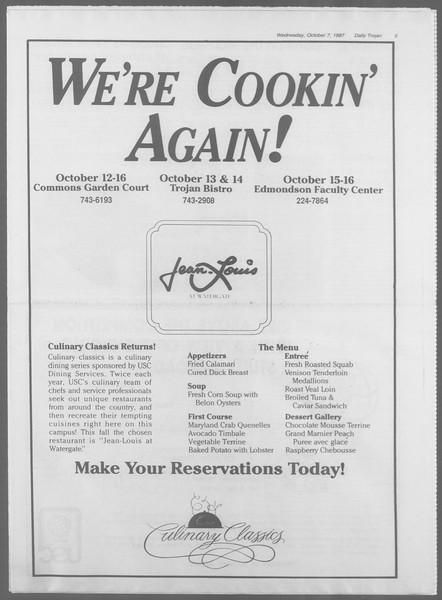 Daily Trojan, Vol. 105, No. 24, October 07, 1987