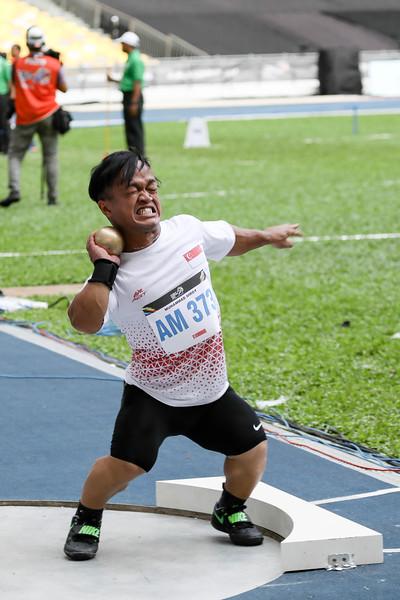 PARA ATHLETICS - MUHAMMAD DIROY BIN NORDIN in action & representing Singapore in Men Shotput Finals (F40/41)  at Bukit Jalil National Stadium, KL on September 21th, 2017 (Photo by Sanketa Anand)