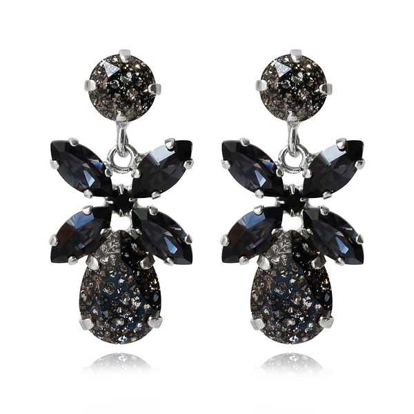 Mini Dione Earrings / Black Patina + Silvernight / Rhodium