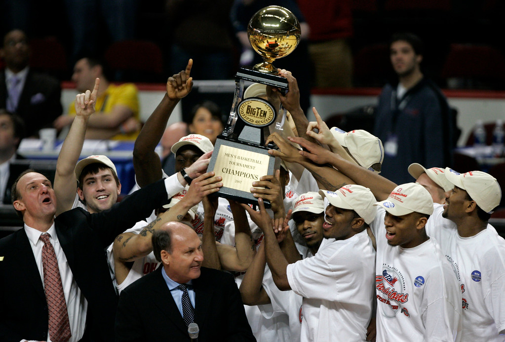 . Ohio State players celebrate their Big Ten Tournament championship basketball game victory in Chicago, Sunday, March 11, 2007. Ohio State defeated Wisconsin 66-49. (AP Photo)
