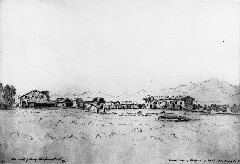 Drawing by Henry Chapman Ford showing an external view of the Mission San Fernando Rey de España, ca.1883