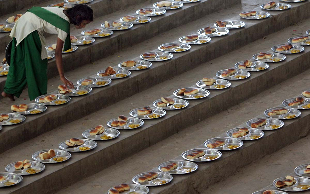 . A nutritious lunch is laid out for the 1,200 Pardada Pardadi School students on March 25.