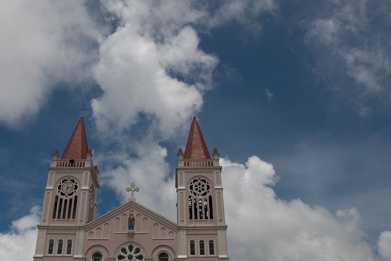 The two towers of Baguio Cathedral against clear sky in Baguio, Philippines