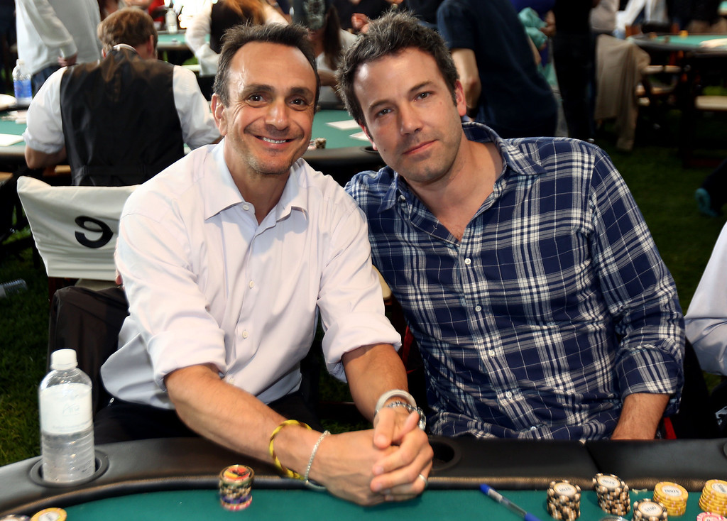 . IMAGE DISTRIBUTED FOR GEFFEN PLAYHOUSE - Hank Azaria, left, and Ben Affleck pose together at the 5th Annual Playing for Good poker tournament benefiting the Geffen Playhouse and Determined to Succeed at the home of Hank Azaria in Los Angeles on Saturday, June 8, 2013.  (Photo by Matt Sayles/Invision for Geffen Playhouse/AP Images)