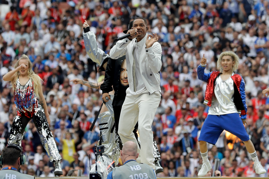 . Singer Will Smith performs during the closing ceremony prior to the final match between France and Croatia at the 2018 soccer World Cup in the Luzhniki Stadium in Moscow, Russia, Sunday, July 15, 2018. (AP Photo/Matthias Schrader)