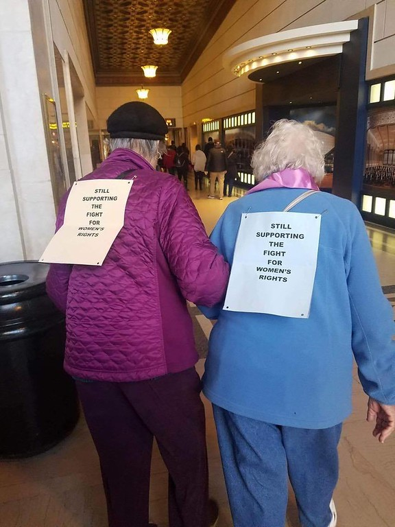 . Submitted by Danielle Capriato <br> This photo shows two women that participated in the Cleveland march.