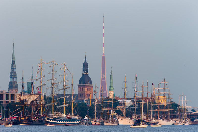 Ships of Tall Ships Race 2013 in front of the Riga  Old Town