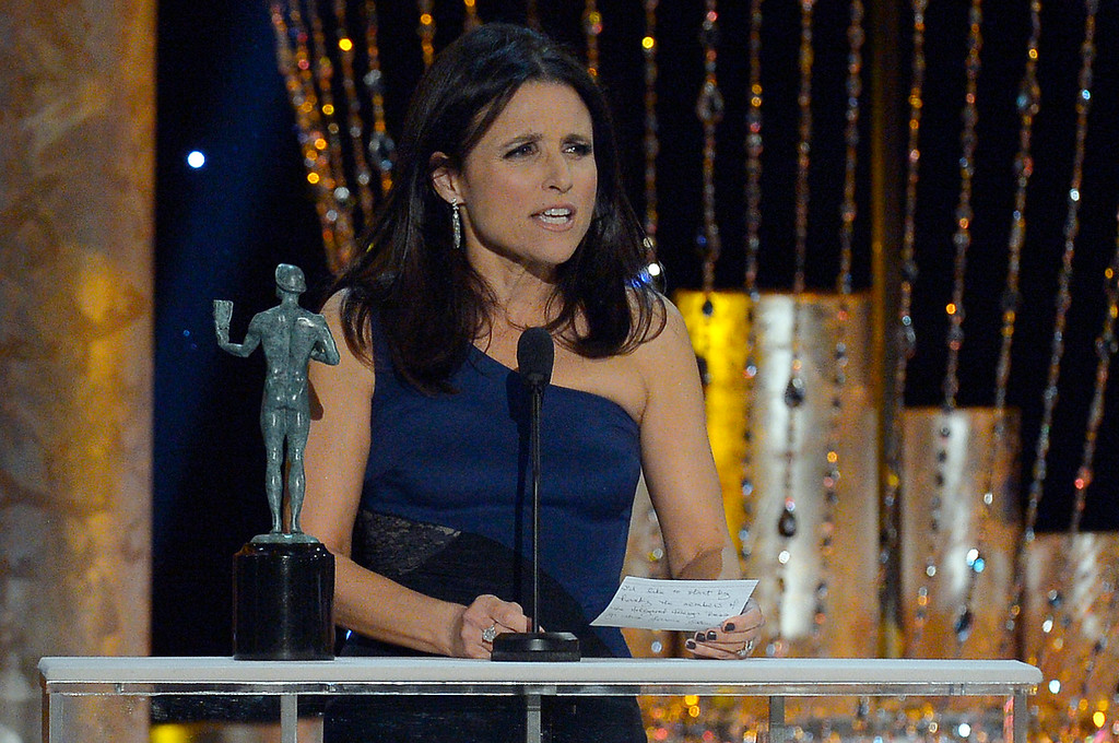 . Julia Louis-Dreyfus, accepts for  �Veep� during the show of the 20th Annual Screen Actors Guild Awards  at the Shrine Auditorium in Los Angeles, California on Saturday January 18, 2014 (Photo by Andy Holzman / Los Angeles Daily News)