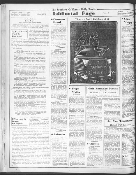 Daily Trojan, Vol. 28, No. 33, November 04, 1936