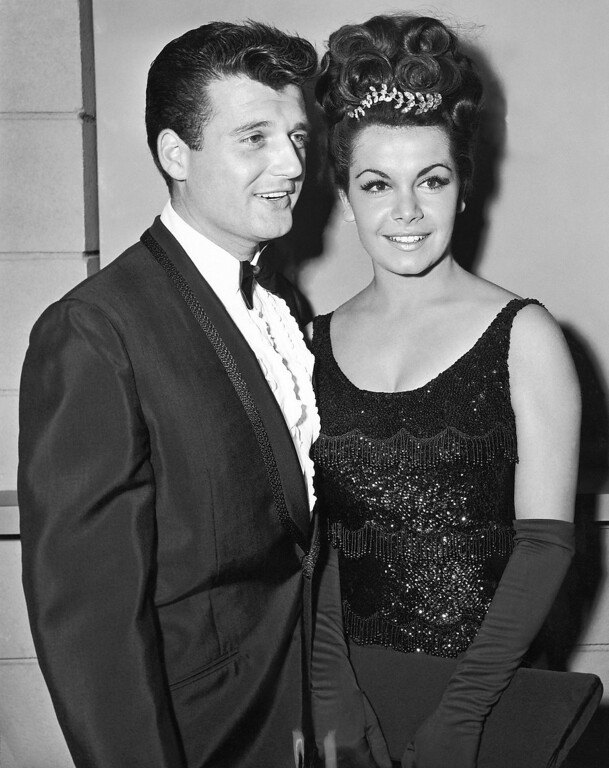. Actress Annette Funicello, a member of the Disney Mousketeers in her younger days, poses with her husband-to-be, her manager, Jack Gilardi in Hollywood on Nov. 17, 1964. Annette says they\'ll be married on January 9. (AP Photo)