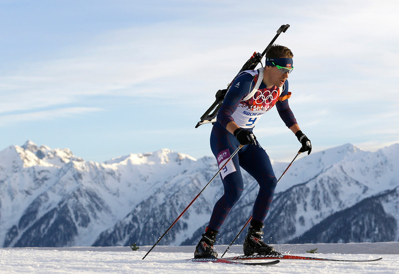 . Norway\'s Emil Hegle Svendsen skis during the men\'s biathlon 20k individual race, at the 2014 Winter Olympics, Thursday, Feb. 13, 2014, in Krasnaya Polyana, Russia. (AP Photo/Kirsty Wigglesworth)