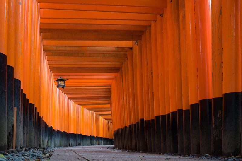 Red Torii gates at Fushimi Inari Taisha shrine