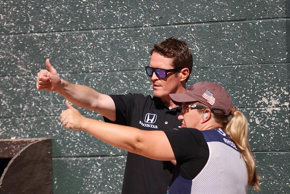 20130918 INDYCAR Driver Scott Dixon and 5x Olympic Medalist Kim Rhodes  Skeet Shooting