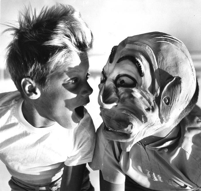 . 1963: Kevin Kiedrowski, 10, of Aptos, meets a ghoul. (San Jose Mercury)