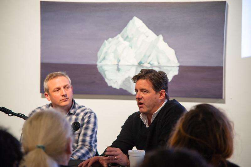 Patrick Kikut talks about his iceberg painting.