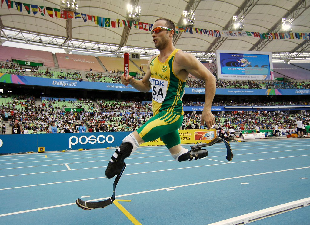 . In this Sept. 1, 2011 file photo, South Africa\'s Oscar Pistorius competes in a qualification round for the Men\'s 4x400m relay at the World Athletics Championships in Daegu, South Korea.  (AP Photo/Matt Dunham, File)