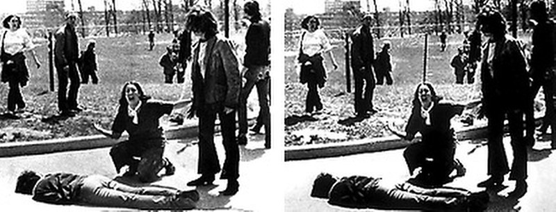 . May 1970:  This Pulitzer Prize winning photo by John Filo shows Mary Ann Vecchio screaming as she kneels over the body of student Jeffrey Miller at Kent State University, where National Guardsmen had fired into a crowd of demonstrators, killing four and wounding nine. The original photograph shows a fence post directly behind Vecchio, that was removed in the published version.   SOURCE: http://www.cs.dartmouth.edu/farid/research/digitaltampering/