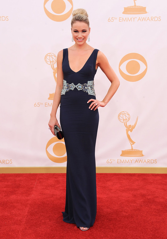 . Katrina Bowden  arrives at the 65th Primetime Emmy Awards at Nokia Theatre on Sunday Sept. 22, 2013, in Los Angeles.  (Photo by Jordan Strauss/Invision/AP)