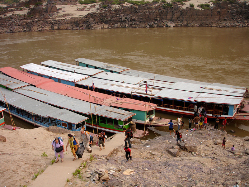 landing at Pakbang - night 1 - climbing the  low-water river stairs up to the town...