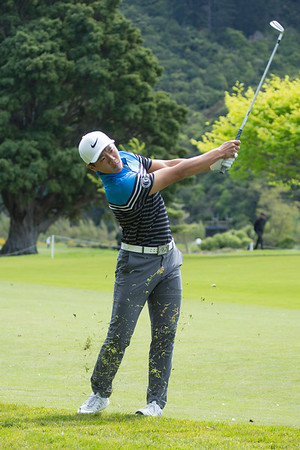 Andy Zhang from China with his approach shot to the green on the 6th hole on Day 2 of the Asia-Pacific Amateur Championship tournament 2017 held at Royal Wellington Golf Club, in Heretaunga, Upper Hutt, New Zealand from 26 - 29 October 2017. Copyright John Mathews 2017.   www.megasportmedia.co.nz