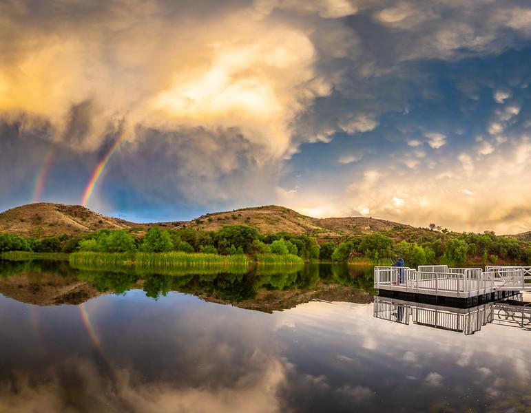 Rainbow and mammatus clouds at Pena Blanca Lake