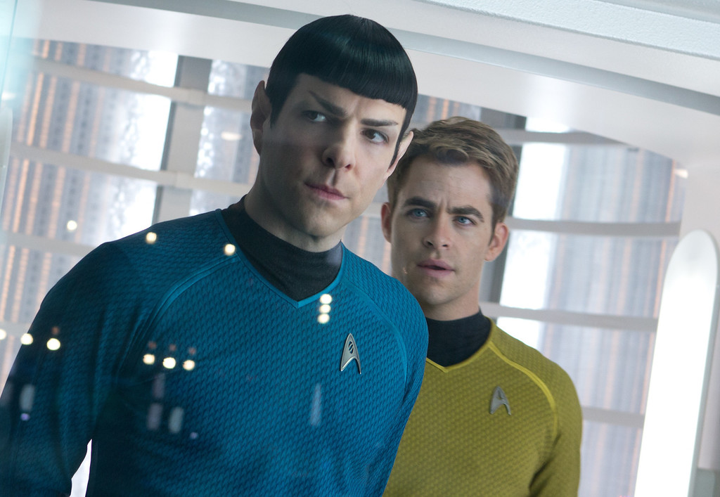 """. (Left to right) Zachary Quinto as Spock and Chris Pine as Capt. Kirk in \""""Star Trek Into Darkness.\"""" Provided by Paramount Pictures and Skydance Productions."""