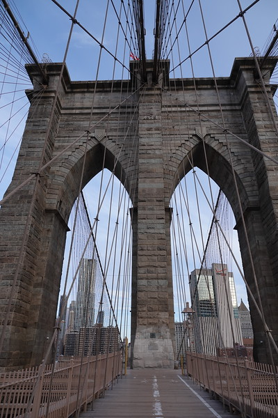 Western tower on Brooklyn Bridge.